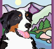 Bernese Mountain Dog  and mountains by IowaArtist