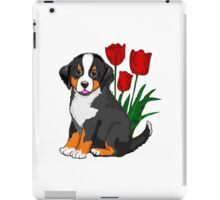 Bernese Mountain dog puppy with tulips iPad Case/Skin