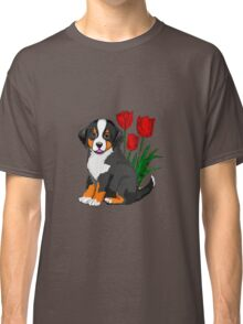 Bernese Mountain dog puppy with tulips Classic T-Shirt