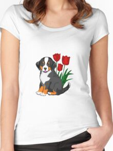 Bernese Mountain dog puppy with tulips Women's Fitted Scoop T-Shirt
