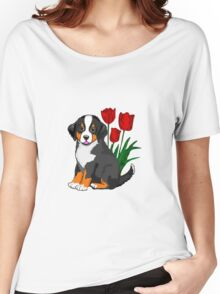 Bernese Mountain dog puppy with tulips Women's Relaxed Fit T-Shirt