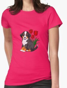 Bernese Mountain dog puppy with tulips Womens Fitted T-Shirt