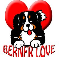 Bernese mountain dog puppy with heart by IowaArtist
