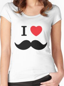 I Love Mustache Women's Fitted Scoop T-Shirt