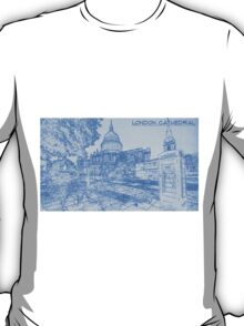 London Cathedral  - BluePrint Drawing T-Shirt