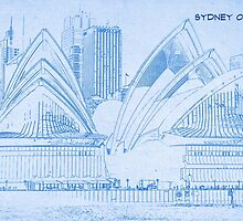 Sydney Opera House - BluePrint Drawing by Adam Asar