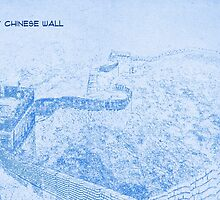 The Great Chinese Wall - BluePrint Drawing by Adam Asar