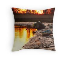 Sunrise Over The Seawall Throw Pillow