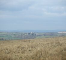 Carreg cennen castle in the distance. by Ffion Rees