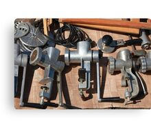 Old manual  meat mincer Canvas Print