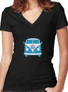 VW Camper T Shirt (blue) Women's Fitted V-Neck T-Shirt