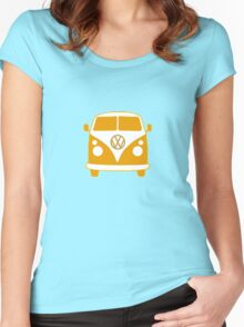 VW Camper T Shirt (orange) Women's Fitted Scoop T-Shirt