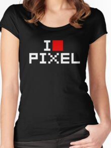 A retro love, I love pixel Women's Fitted Scoop T-Shirt