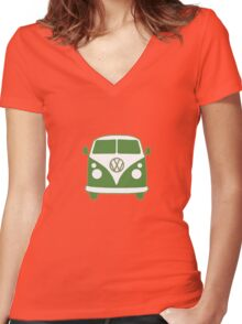 VW Camper T Shirt (green) Women's Fitted V-Neck T-Shirt