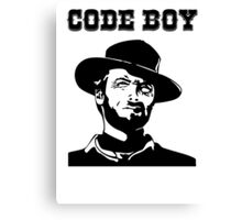 Code Boy Western Parody White Shirt for Programmers Canvas Print