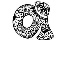 "Hipster Letter ""A"" Zentangle Photographic Print"