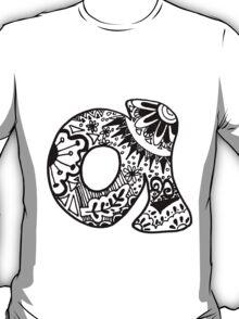 """Hipster Letter """"A"""" Zentangle T-Shirt"""