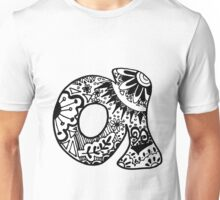 "Hipster Letter ""A"" Zentangle Unisex T-Shirt"