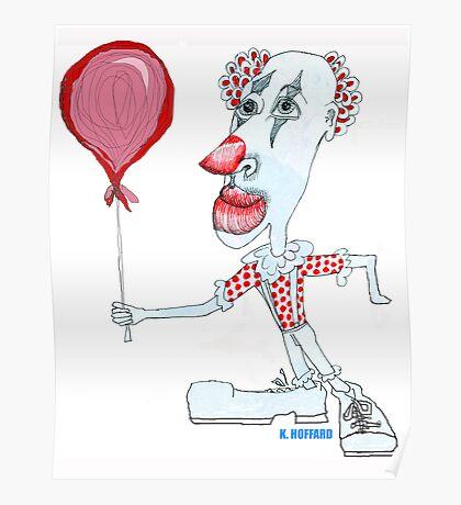 Circus Clown w. Red Ballon Poster