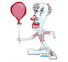 Circus Clown w. Red Ballon Photographic Print