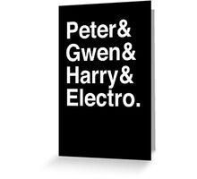 Peter & Gwen & Harry & Electro. (inverse) Greeting Card