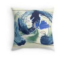 abstract painting, oil varnish pastel graphite on board Throw Pillow