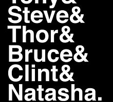 Tony & Steve & Thor & Bruce & Clint & Natasha. (inverse) by Samantha Weldon
