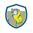Golfer Swinging Club Shield Cartoon by patrimonio