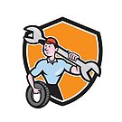 Mechanic Spanner Wrench Tire Shield Cartoon by patrimonio
