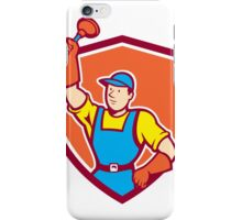 Plumber Holding Plunger Up Shield Cartoon iPhone Case/Skin