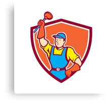 Plumber Holding Plunger Up Shield Cartoon Canvas Print
