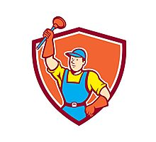 Plumber Holding Plunger Up Shield Cartoon Photographic Print