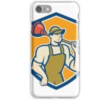 Plumber Holding Plunger Shield Cartoon iPhone Case/Skin