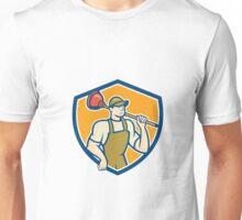 Plumber Holding Plunger Shield Cartoon Unisex T-Shirt