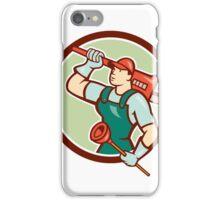 Plumber Holding Wrench Plunger Circle Cartoon iPhone Case/Skin