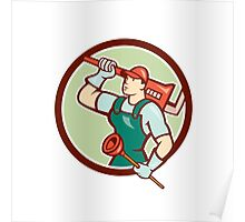 Plumber Holding Wrench Plunger Circle Cartoon Poster