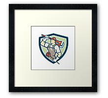 Plumber Holding Wrench Plunger Shield Cartoon Framed Print