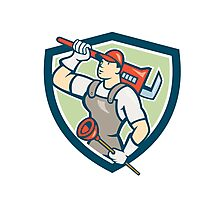 Plumber Holding Wrench Plunger Shield Cartoon Photographic Print