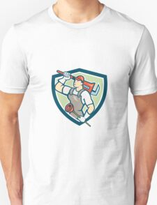 Plumber Holding Wrench Plunger Shield Cartoon T-Shirt