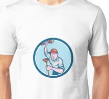 Plumber Holding Wrench Plunger Circle Cartoon Unisex T-Shirt