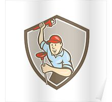 Plumber Wrench Plunger Front Shield Cartoon Poster