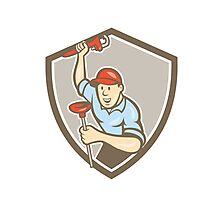 Plumber Wrench Plunger Front Shield Cartoon Photographic Print