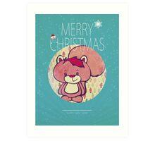 Mr. Squiggles Christmas Card Art Print