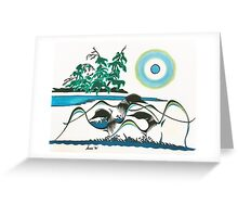 Loons at Play Greeting Card