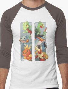 pokemon 3rd gen starters megaevolved cool design Men's Baseball ¾ T-Shirt