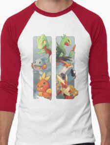 pokemon 3rd gen starters megaevolved cool design Men's Baseball ¾ T-Shirt
