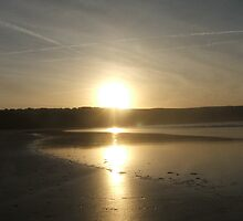 Sun setting on Crantock Beach by Carmen Bretherton