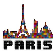 Paris Skyline Made With Lego Like Blocks Photographic Print