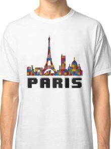 Paris Skyline Made With Lego Like Blocks Classic T-Shirt