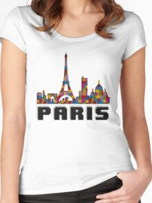 Paris Skyline Made With Lego Like Blocks Women's Fitted Scoop T-Shirt